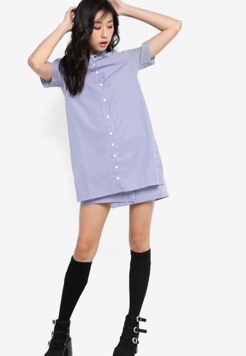 前裹飾襯衫條紋連身zalora 心得 ptt裙, 服飾, 洋裝