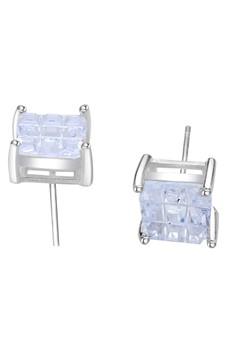 Square Single Stone Stud Earring