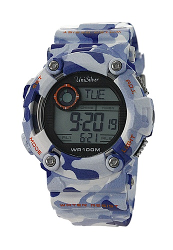 UniSilver TIME blue Camo-D Rubber Watch KW1756-1003 UN802AC52CEHPH_1
