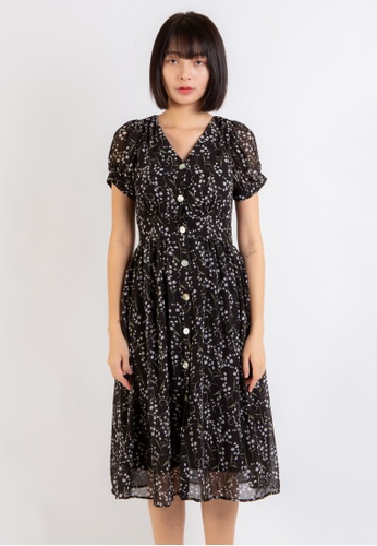 Love Knot black Confidence Floral Button Down Dress (Black) B6762AA30DFDD7GS_1