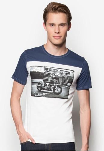 重機圖案撞色拼肩T 恤, 服飾esprit 品牌, 服飾
