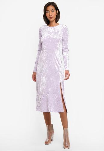 Miss Selfridge purple Lilac Velvet Midi Skater Dress MI665AA0SABUMY_1