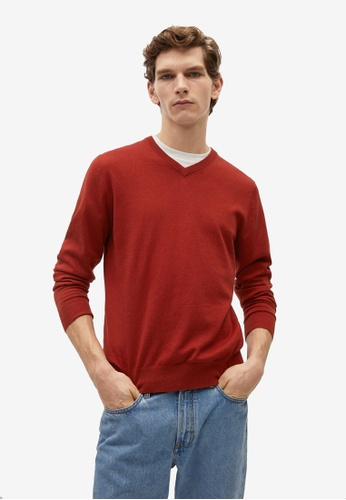 MANGO Man red Cotton Cashmere-Blend Sweater D397BAA5BF6CBDGS_1