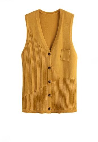 Twenty Eight Shoes yellow VANSA Knitted Vest Jacket  VCW-V3215558 1FC36AA9D41E87GS_1