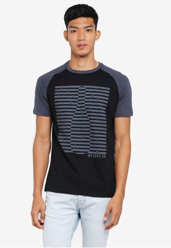 Fidelio black Contrasted Sleeves Graphic Tee 0525AAA1C7580FGS_1