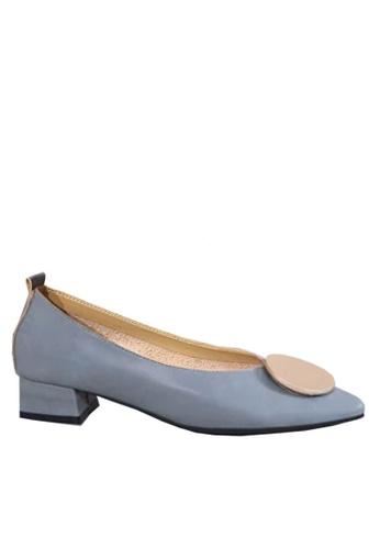 Twenty Eight Shoes 藍色 尖頭裝飾扣中跟鞋 VL1702 35934SH3053BAFGS_1