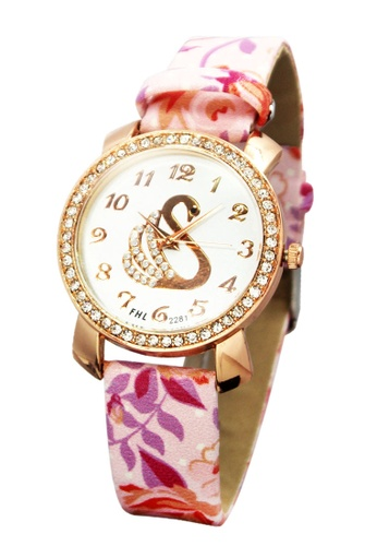 World of Watches pink and gold FHL Golden Swan Women's Floral Leather Strap Watch 2281 WO566AC29IQWPH_1
