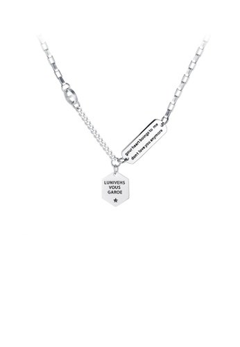 Glamorousky silver Simple and Fashion Geometric Diamond 316L Stainless Steel Pendant with Necklace 4C7E0AC3309D62GS_1