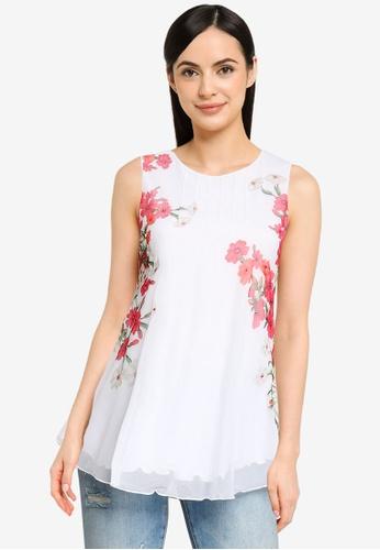 Desigual white Sleeveless Tulle Flowers Top 55A67AAEA8C244GS_1