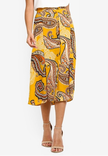 b02b849834 Dorothy Perkins orange Ochre Paisley Button Midi Skirt 7A3A2AAC09D2B2GS_1
