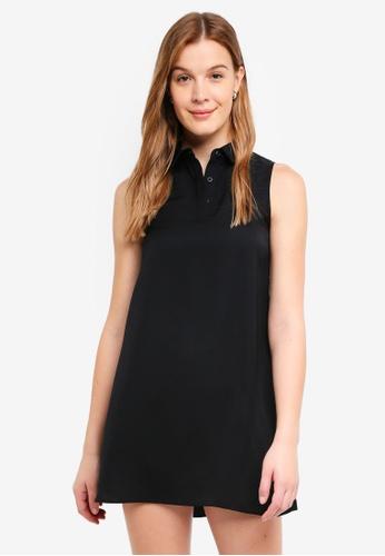 ZALORA BASICS black Sleeveless Shirt Dress 6620AAA83FD06FGS_1