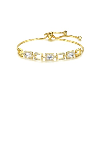 Glamorousky white Simple Temperament Plated Gold Hollow Geometric Square Bracelet with Cubic Zirconia AD6F7ACEE0DC1AGS_1