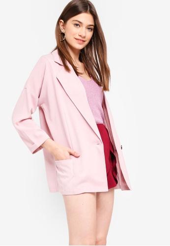 Something Borrowed pink Oversized Boyfriend Blazer F2087AA071C0F8GS_1