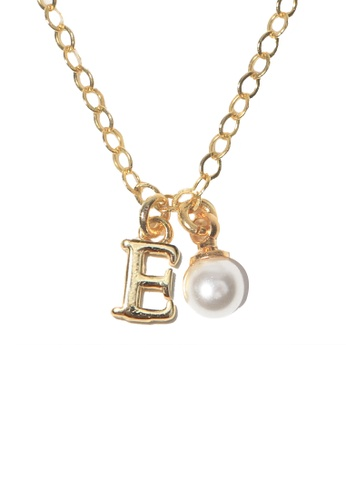 PSYNDROME gold Personalised Initial Letter Alphabet with Pearl Necklace - E 477B4AC6ADC0EBGS_1