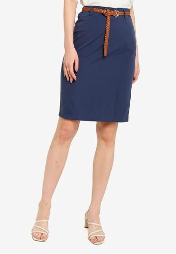 ZALORA WORK navy Tailored Skirt With Belt 3DF2CAAD7941B5GS_1