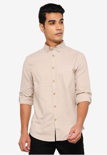 Springfield beige Textured Shirt BEED4AA5198FACGS_1