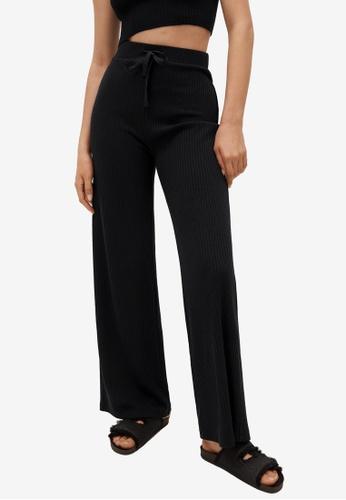 Mango 黑色 Ribbed Knit Trousers B22BFAA2AA6F60GS_1