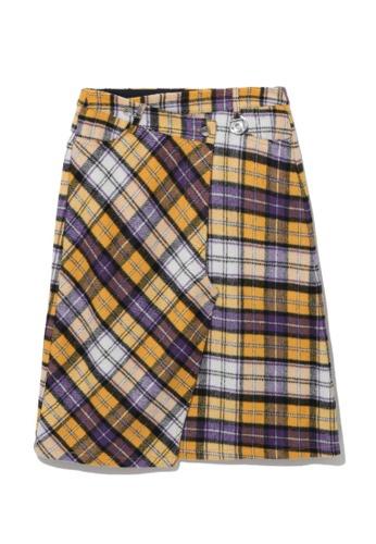 tout à coup yellow Checkered skirt 58570AA081E7A3GS_1