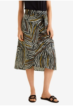 8be2c4811c Mango black and multi Zebra Linen-Blend Skirt 52019AA66811C1GS_1