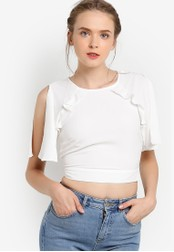 Miss Selfridge white White Angel Sleeve Cold Shoulder Top MI665AA73EBAMY_1