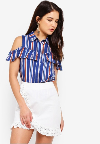 ZALORA blue and multi Cold Shoulder Ruffle Shirt 2FDC1AA670A587GS_1