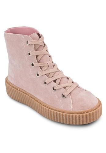 Iyla 仿麂皮esprit門市厚底高筒靴, 女鞋, 鞋
