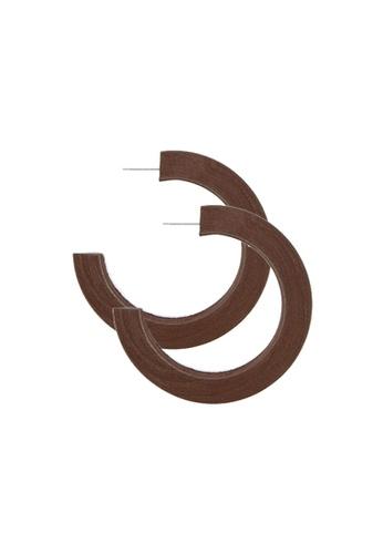 FOREVER 21 brown Open-End Wooden Hoop Earrings 5BAB4AC3C8E0B3GS_1