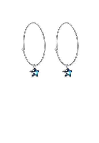 Glamorousky blue 925 Sterling Silver Simple Star Earrings with Blue Austrian Element Crystal 8C49CACEFF9BA7GS_1