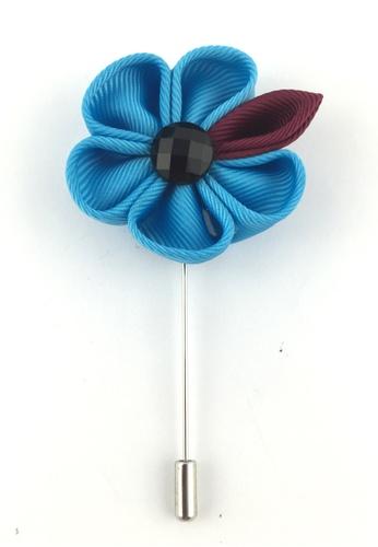 Splice Cufflinks silver Turquoise Fabric Flower Lapel Pin SP744AC29EZQSG_1