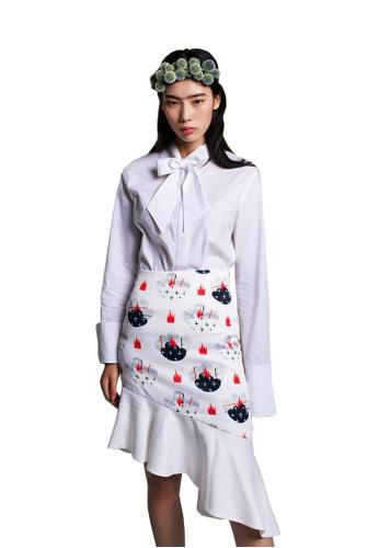 EJnolee white Ribbon Tie Oversleeve White Shirt EJ188AA0FIGGSG_1