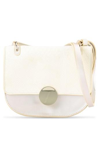 ZALORA white Velvet-Croc Round Clasp Shoulder Bag FCCE9ACDD4AE4FGS_1