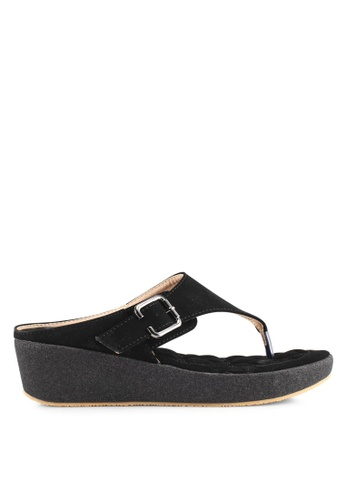Spiffy black Casual Wedge Sandals 10DA3SH838818AGS_1