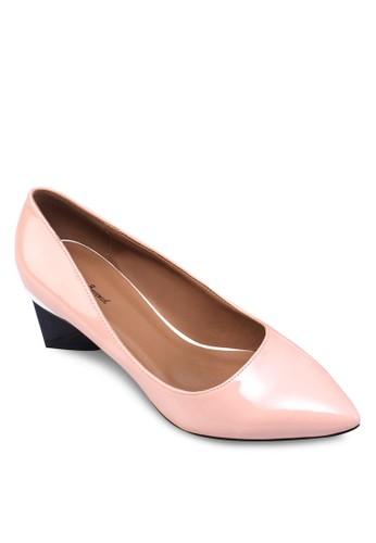 zalora 衣服評價撞色粗跟尖頭鞋, 女鞋, 厚底高跟鞋