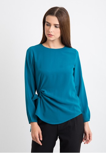 The B Club green Long Sleeve Blouse With Ribbon TH262AA0VY2EID_1
