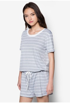 Drawcord Shirt Sleeve Striped Romper