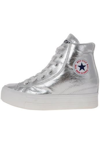 Maxstar 銀色 新款韩国鞋C2-TC時尚合成物質布混合女銀色 US Women Size MA345SH99HEUTW_1