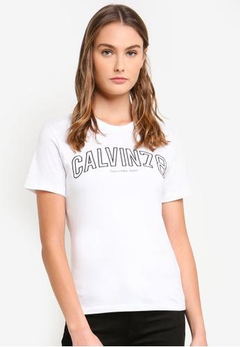 Calvin Klein white Ar-Tanya Cn Short Sleeve 78 Tee E0A28AA2B2D392GS_1