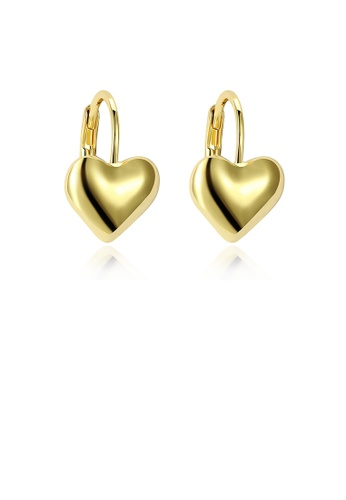 Glamorousky silver Simple Romantic Plated Gold Heart Stud Earrings 25AA3AC289FA1CGS_1