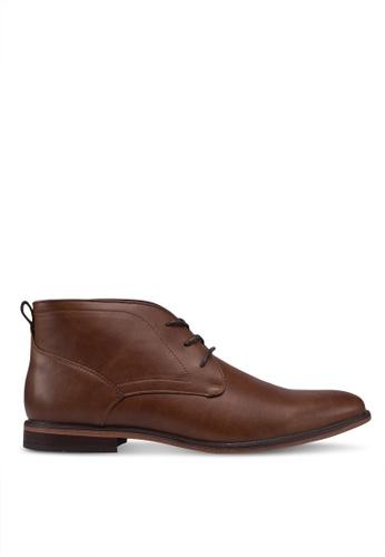 Burton Menswear London brown Natural Sole Tan Leather Look Desert Boots 56D23SHA0832DEGS_1