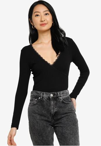 ZALORA BASICS black Long Sleeves Lace Wrap Top 34E43AA98DEC14GS_1