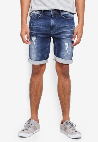 Burton Menswear London 藍色 牛仔刷破短褲 07779AAB29964AGS_1