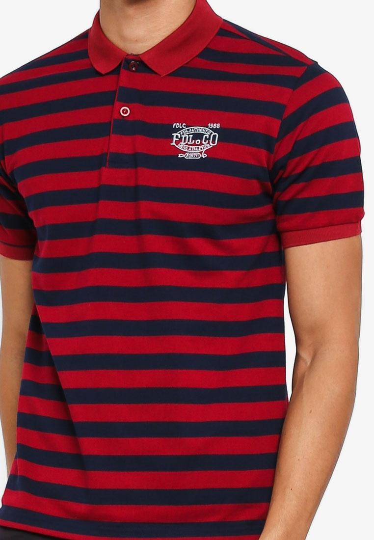 Fidelio Red Polo Embroidery Stripes Navy Shirt zwTBSgx