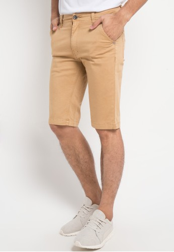 BRONCO brown Slim Fit Chinos Shorts 05BEEAAC97E805GS_1