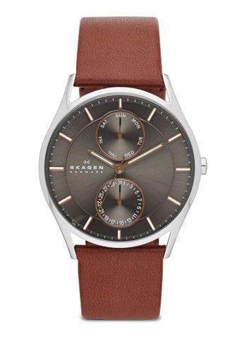 Skagen brown Skagen Holst Multifunction Leather Watch SKW6086 SK533AC91NOQMY_1