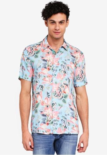 Topman blue Blue Floral Tile Short Sleeve Shirt 007CFAA5FC365FGS_1