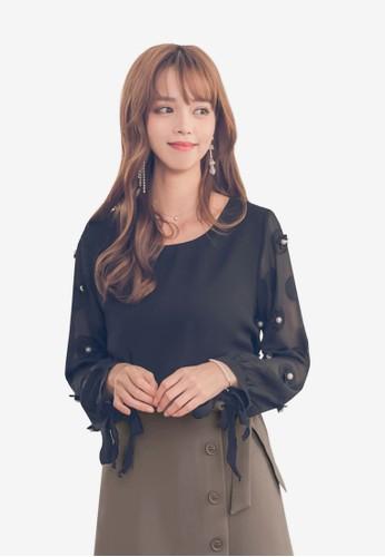 Yoco black and multi Chiffon Tie Sleeve Blouse 4A3BFAAE4D0D48GS_1