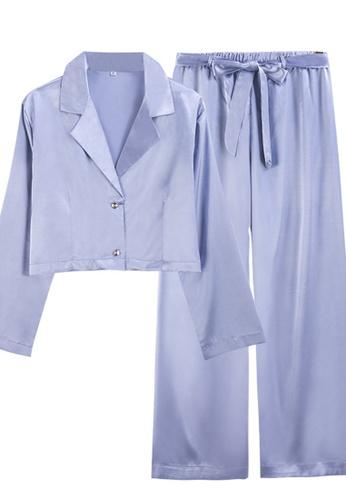 ZITIQUE blue Long Ice Silk Sleeve Pajamas-Blue FBE51US2AA1277GS_1