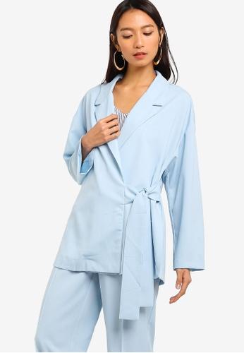 ZALORA blue Co-Ord Self Tie Jacket BCB5FAAE43A6BCGS_1