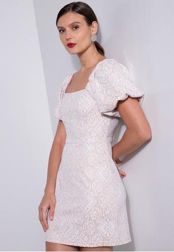 ZALORA OCCASION white Lace Puff Sleeve Mini Dress 14806AA6782377GS_1