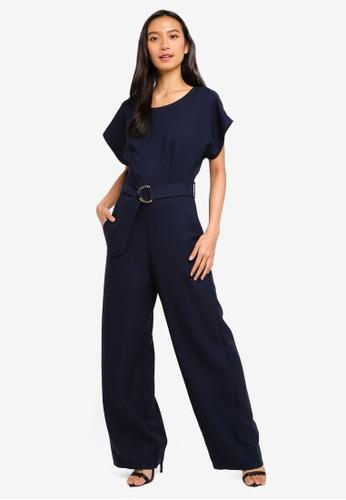 CLOSET 海軍藍色 腰帶連身褲 0B863AAC99680DGS_1
